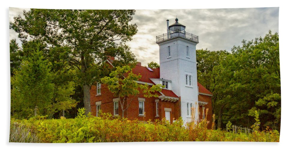 Forty Mile Point Beach Towel featuring the photograph Forty Mile Point Lighthouse Lake Huron Lower Peninsilat Mi by Jack R Perry