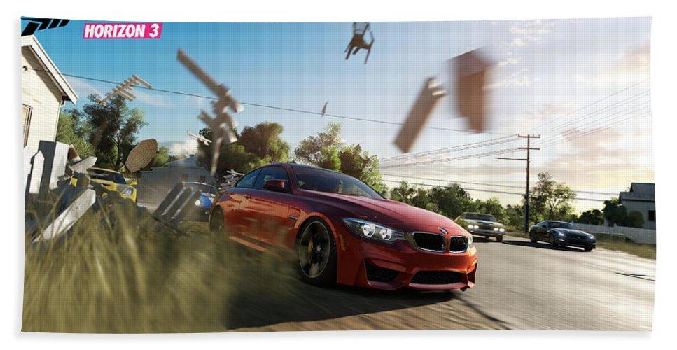 Forza Horizon 3 Beach Towel featuring the digital art Forza Horizon 3 by Zia Low