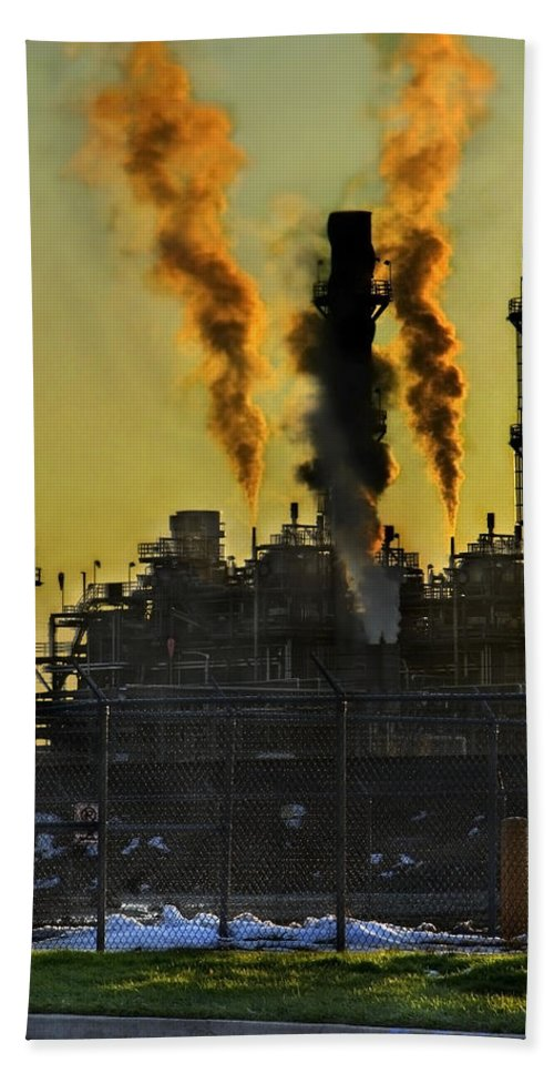 Smoke Beach Towel featuring the photograph Fossil Fuels by Jeffery Ball