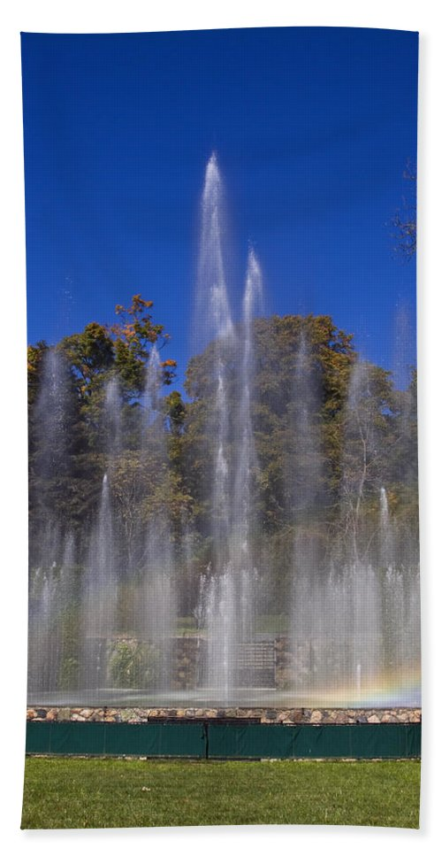 Fountains Shooting Water Beach Towel featuring the photograph Fountain And Rainbow by Sally Weigand