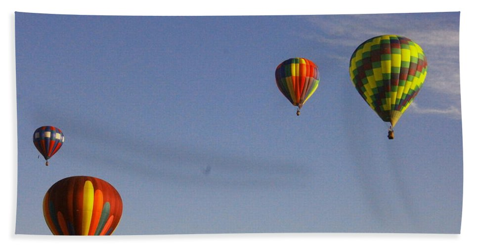 Festival Beach Towel featuring the photograph Four Balloons Prosser Balloon Festival by Jeff Swan