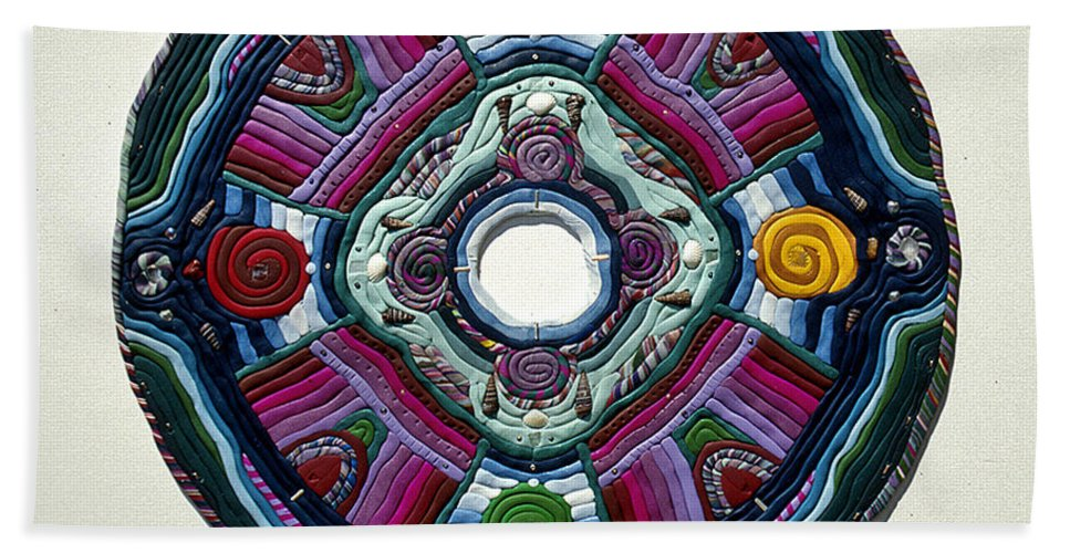 Mandala Beach Towel featuring the relief Four Directions by Arla Patch