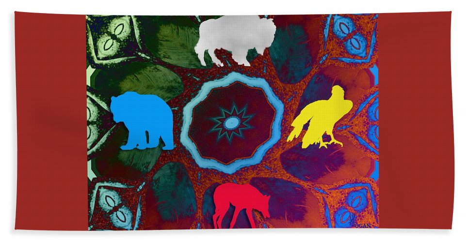 Wildlife Beach Towel featuring the digital art Four Directions  -009 by Will Logan
