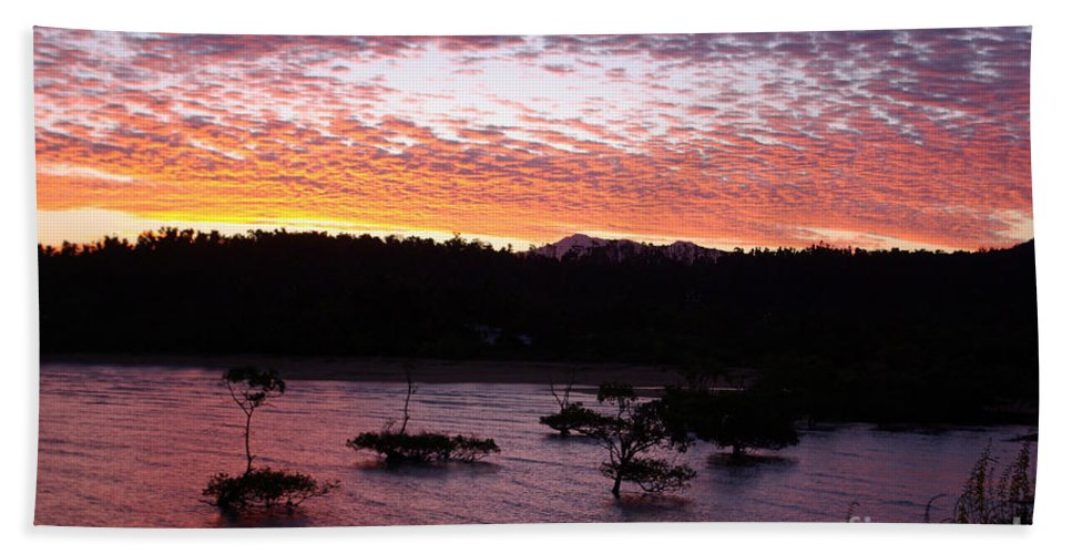 Landscape Beach Towel featuring the photograph Four Elements Sunset Sequence 3 Coconuts Qld by Kerryn Madsen - Pietsch
