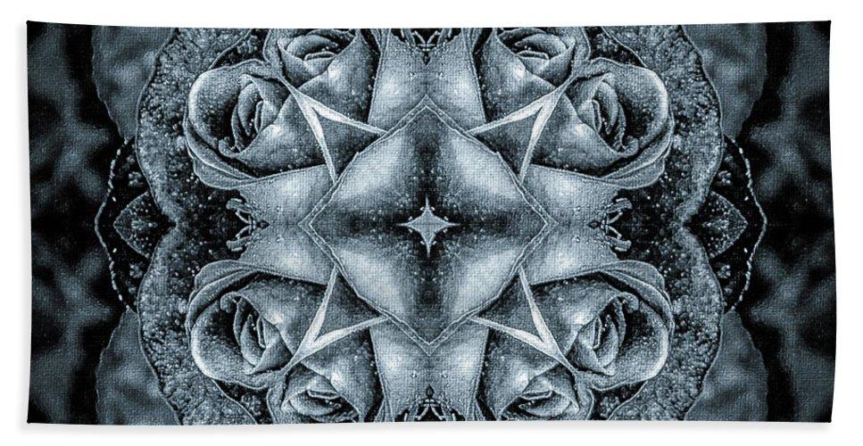 Black Flowers Beach Towel featuring the digital art Noir Four Roses Symmetrical Focus by Mona Stut