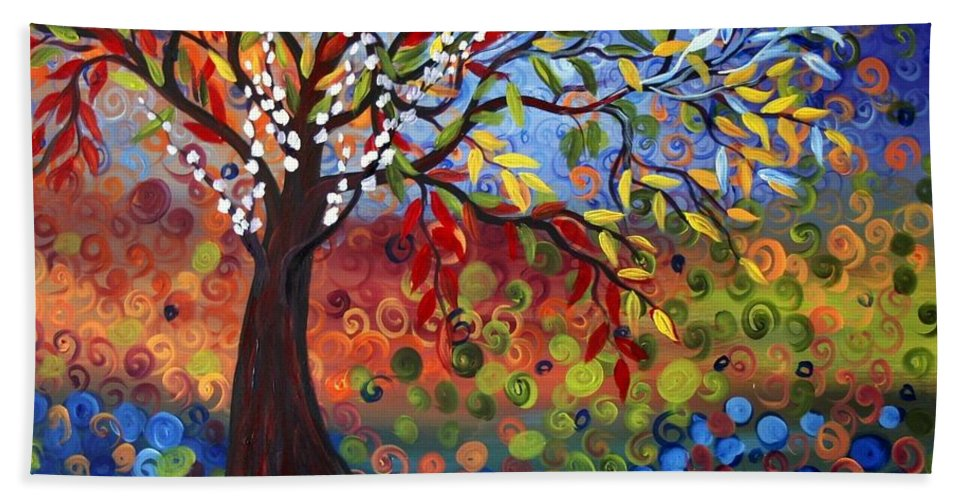 Art Beach Sheet featuring the painting Four Seasons by Luiza Vizoli