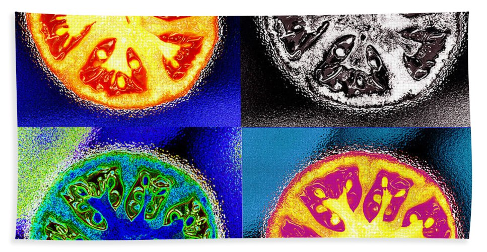 Tomatoes Beach Towel featuring the photograph Four Tomatoes by Nancy Mueller