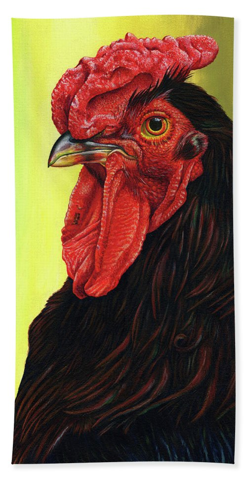 Rhode Beach Towel featuring the painting Fowl Emperor by Cara Bevan