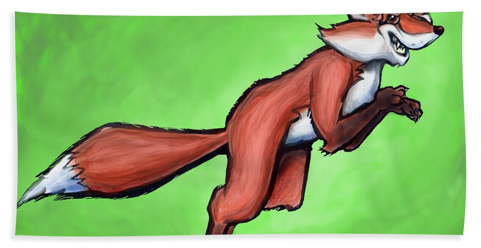 Fox Beach Towel featuring the greeting card Fox by Kevin Middleton