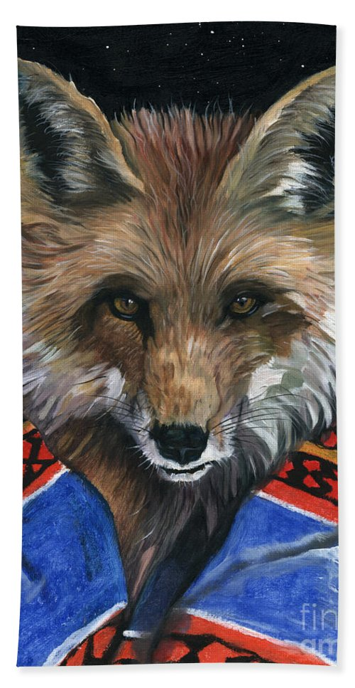 Fox Beach Towel featuring the painting Fox Medicine by J W Baker