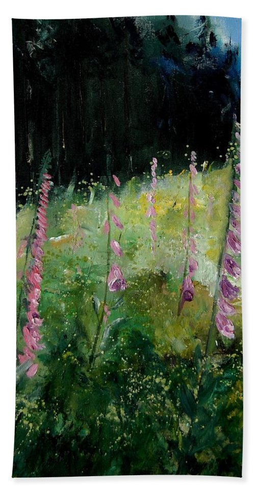 Flowers Beach Towel featuring the painting Foxgloves by Pol Ledent