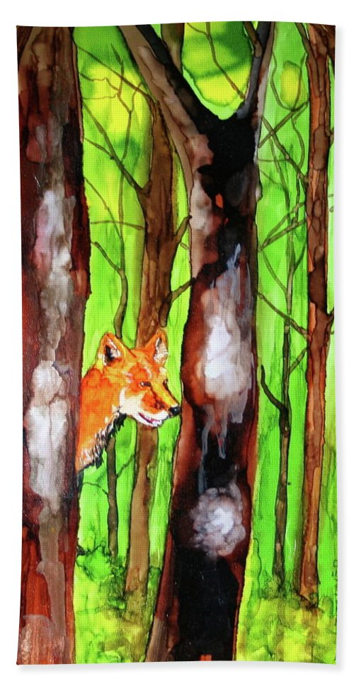 Woods Beach Towel featuring the painting Foxy Fox by Jean Blackmer