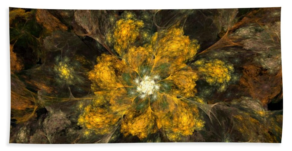 Digital Painting Beach Towel featuring the digital art Fractal Floral 02-12-10 by David Lane