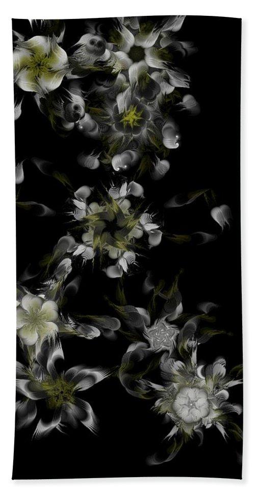Digital Photograph Beach Towel featuring the digital art Fractal Floral Pattern Black by David Lane