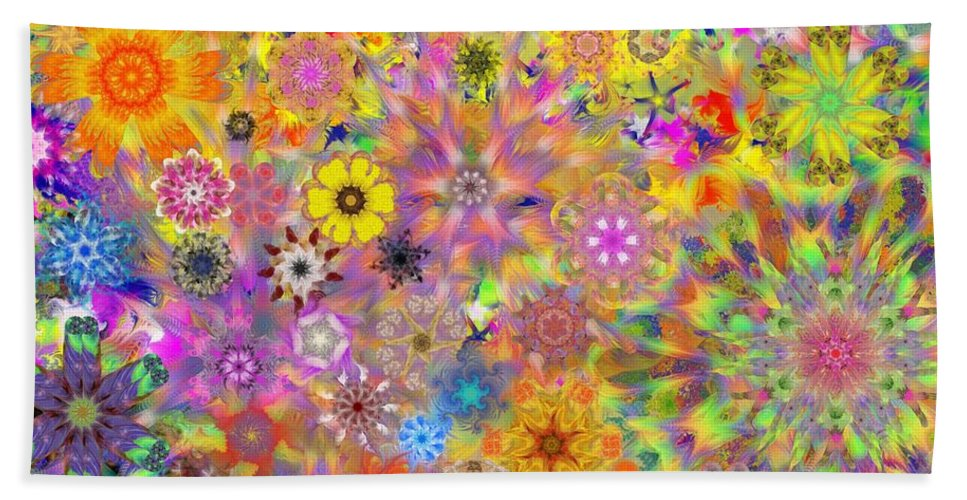 Digital Painting Beach Towel featuring the digital art Fractal Floral Study 3 by David Lane