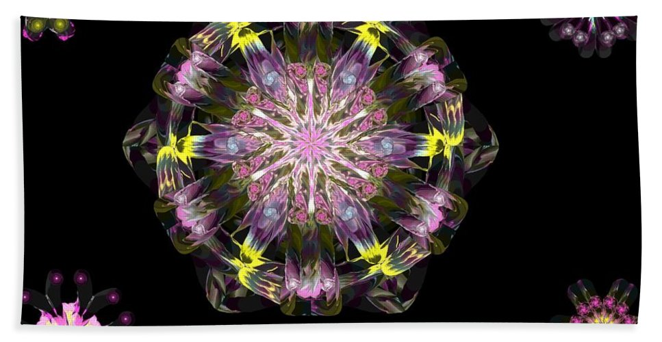 Digital Painting Beach Towel featuring the digital art Fractal Flowers 10-20-09 by David Lane