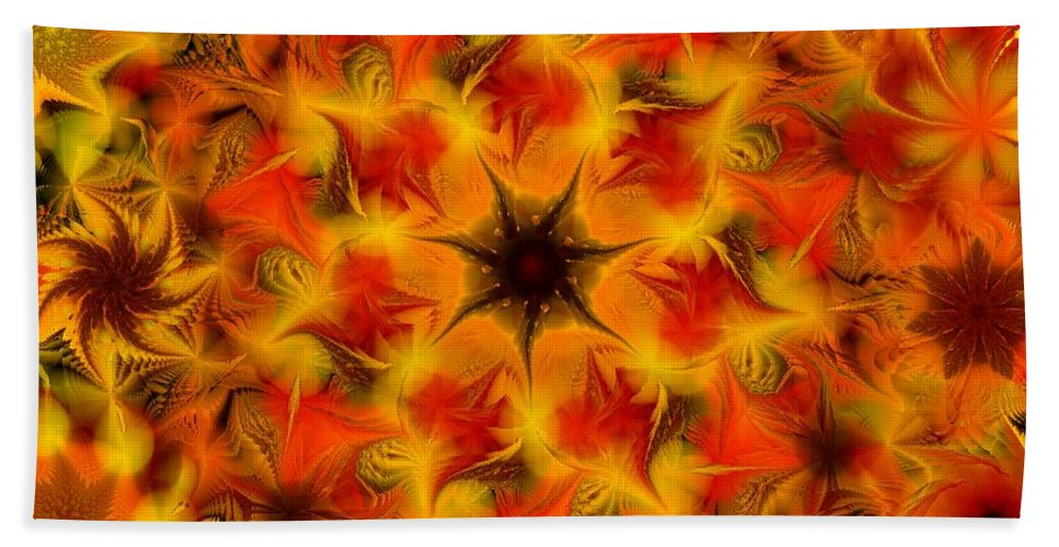 Abstract Digital Painting Beach Towel featuring the digital art Fractal Garden 6 by David Lane