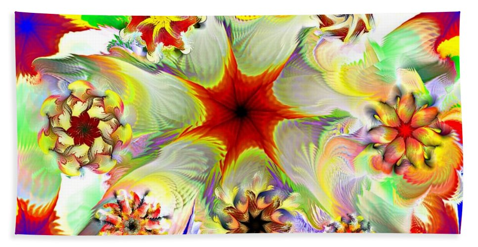 Abstract Digital Painting Beach Towel featuring the digital art Fractal Garden 9 by David Lane