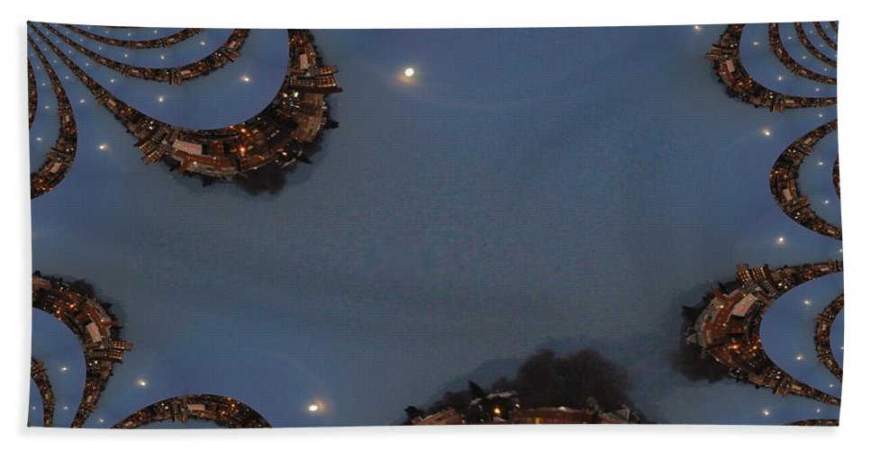 Moon Beach Towel featuring the digital art Fractal Moon by Tim Allen