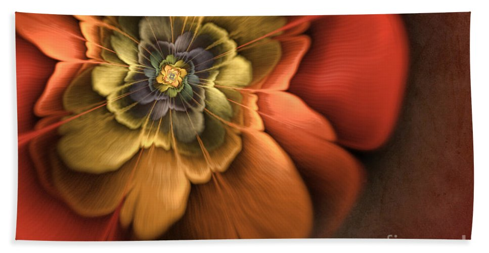Flame Fractal Beach Towel featuring the digital art Fractal Pansy by John Edwards
