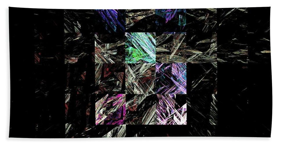 Abstract Digital Painting Beach Towel featuring the digital art Fractured Fractals by David Lane