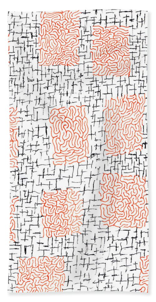 Mazes Beach Towel featuring the drawing Fragment by Steven Natanson