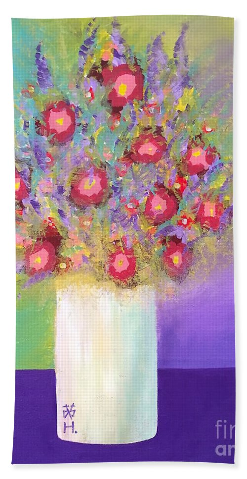 Still Life Beach Towel featuring the painting Fragrance Arrangement by Wonju Hulse
