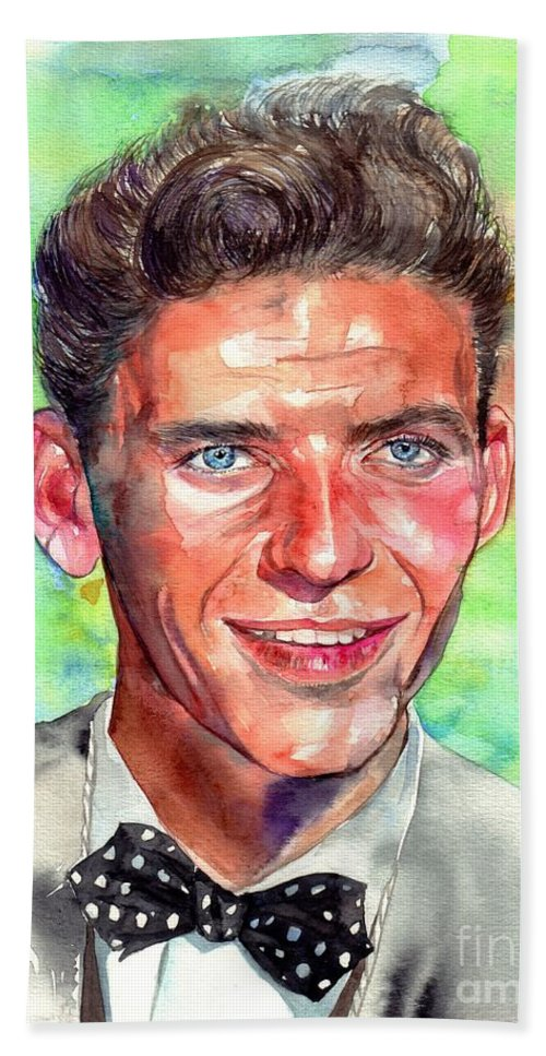 Frank Beach Sheet featuring the painting Frank Sinatra Young Painting by Suzann Sines