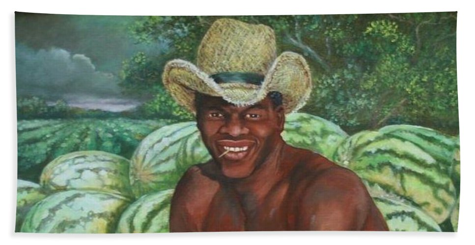 National Watermelon Day.  Aug 3 2017 Beach Towel featuring the painting Frank The Watermelon Man by Toni Crosby