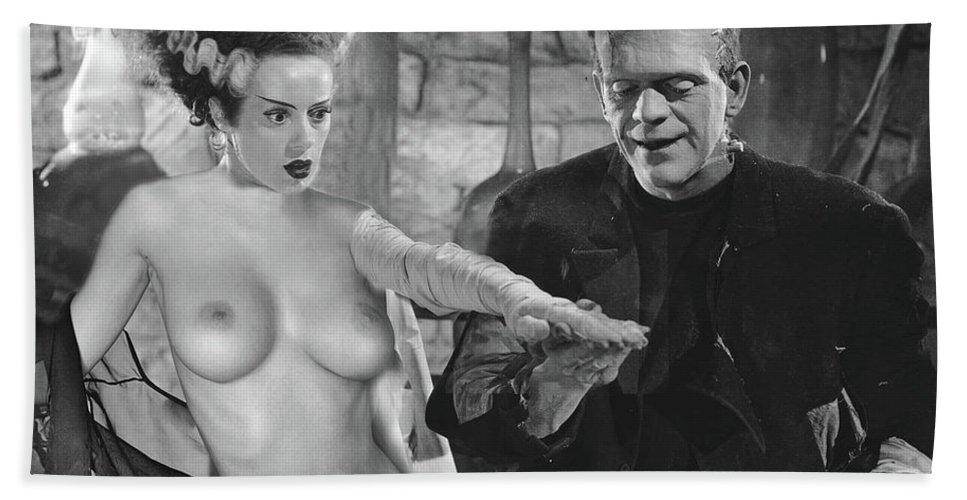Beach Towel featuring the digital art Frankenstein Bride by Jorge Fernandez