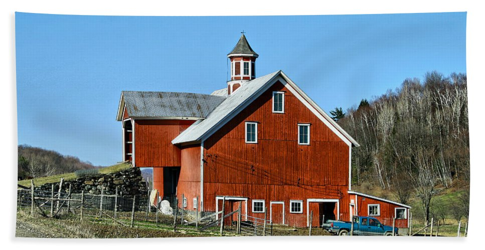 Barn Beach Towel featuring the photograph Franklin Spring Barn by Deborah Benoit