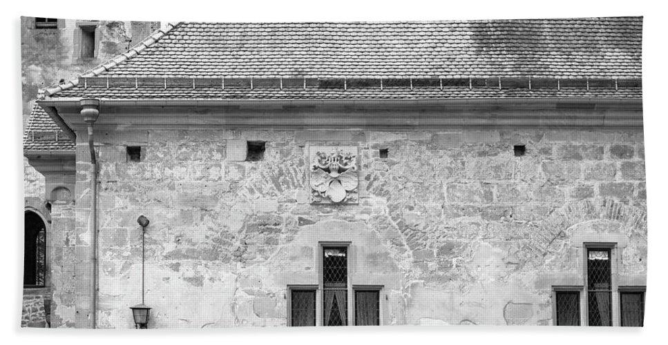 Heidelberg Beach Towel featuring the photograph Frauenzimmerbau Crest B W by Teresa Mucha