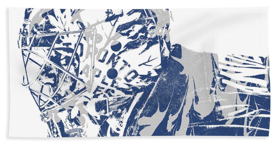 Frederik Andersen Toronto Maple Leafs Pixel Art 3 Beach Towel For Sale By Joe Hamilton