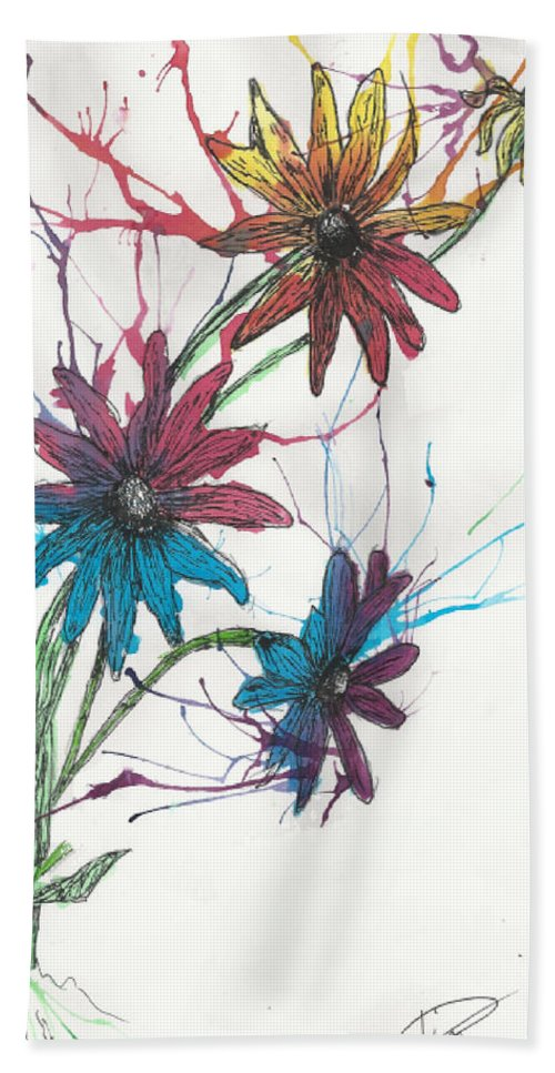 Flower Beach Towel featuring the drawing Free Flow by Tim Ulenberg