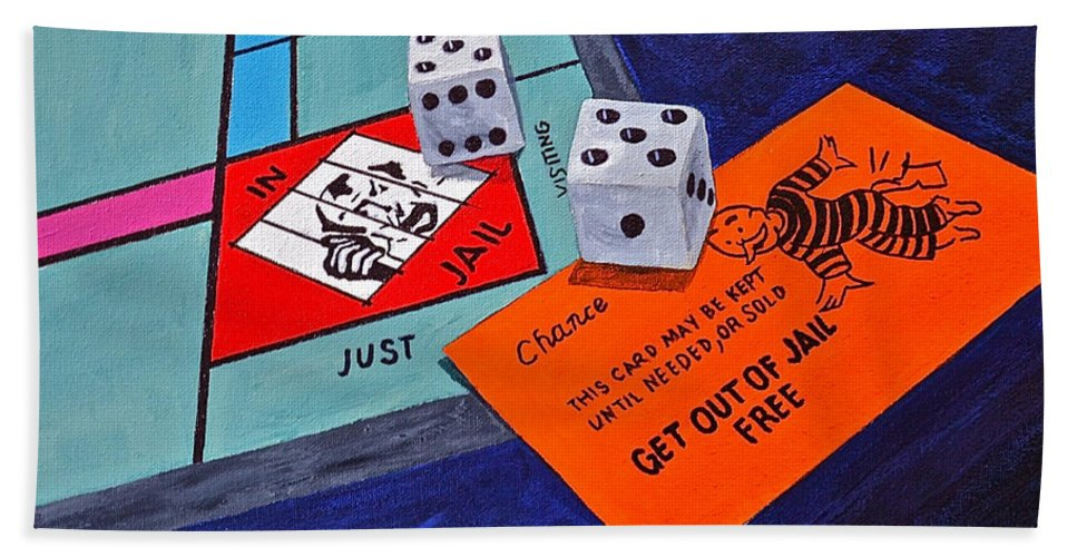 Toys And Games Monopoly Kids Get Out Of Jail Free Card Beach Towel featuring the painting Free Pass by Herschel Fall