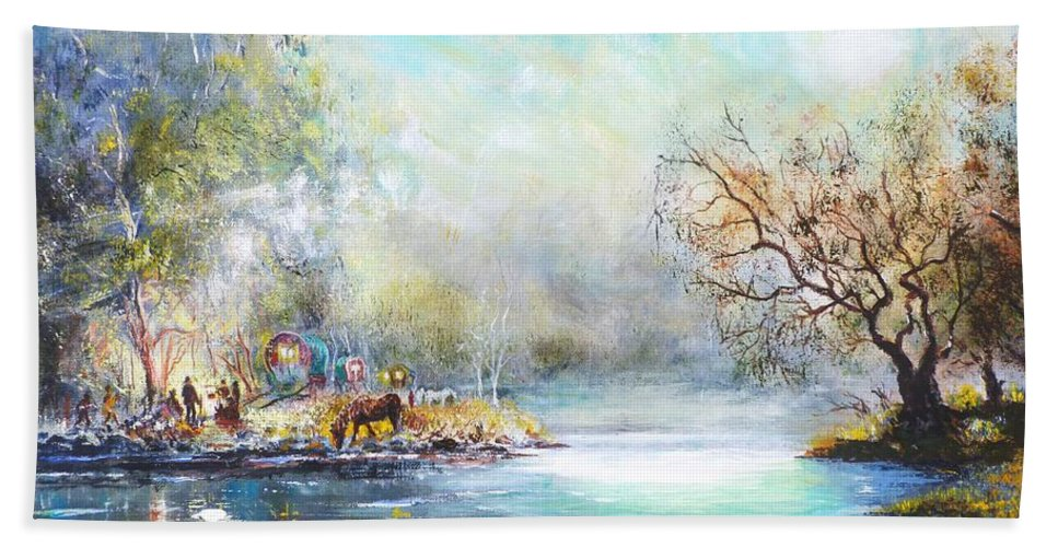 Gypsy Beach Towel featuring the painting Free To Roam by Joe Trodden