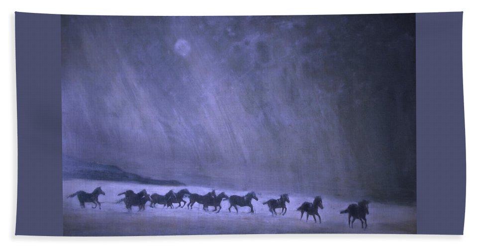 Horse Beach Towel featuring the painting Freedom by Jarmo Korhonen aka Jarko