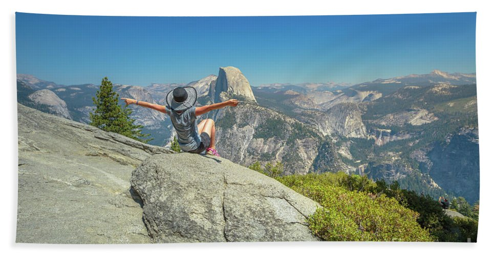 Yosemite Beach Towel featuring the photograph Freedom Woman At Glacier Point by Benny Marty