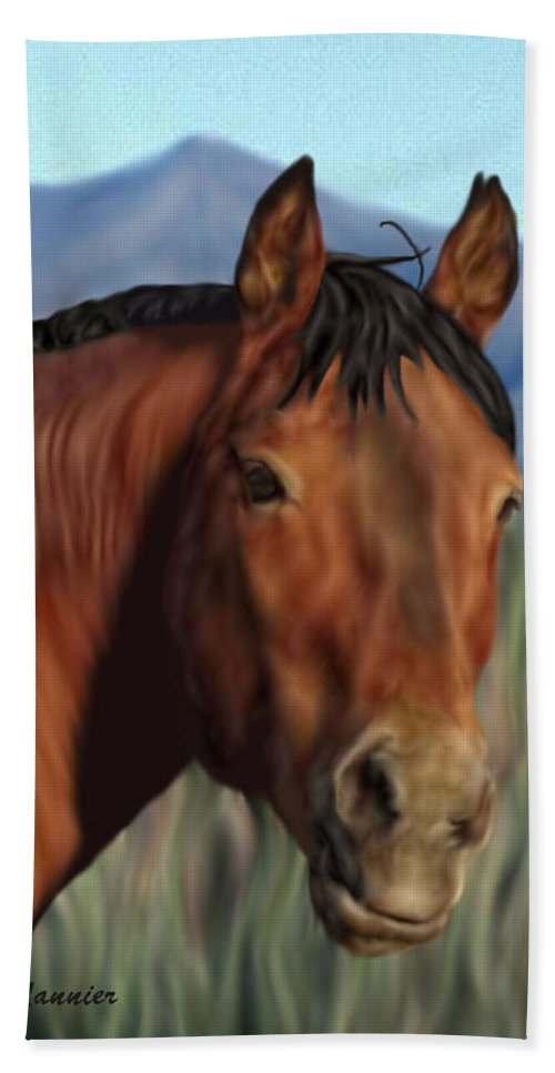 Horse Beach Towel featuring the digital art Freedom's Glance by Sally Lannier