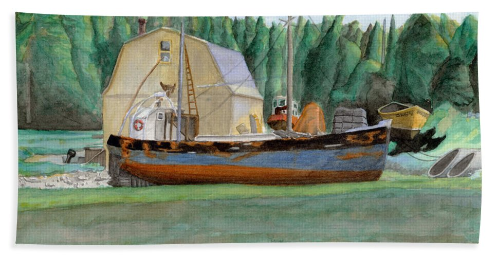 Fishing Boat Beach Sheet featuring the painting Freeport Fishing Boat by Dominic White