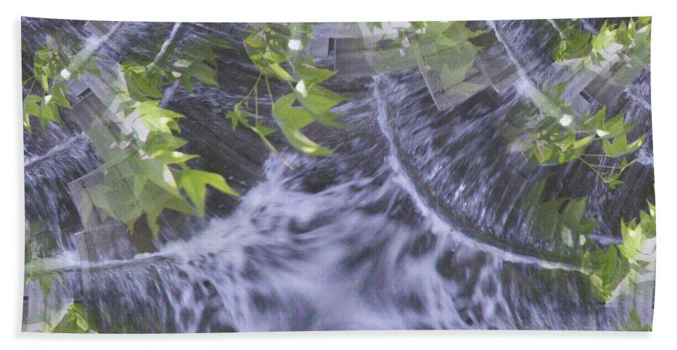 Seattle Beach Towel featuring the digital art Freeway Park Waterfall 2 by Tim Allen