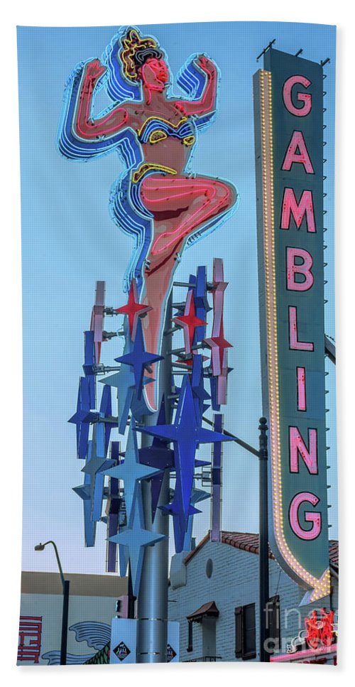 Lucky Lady Beach Towel featuring the photograph Fremont Street Lucky Lady And Gambling Neon Signs by Aloha Art