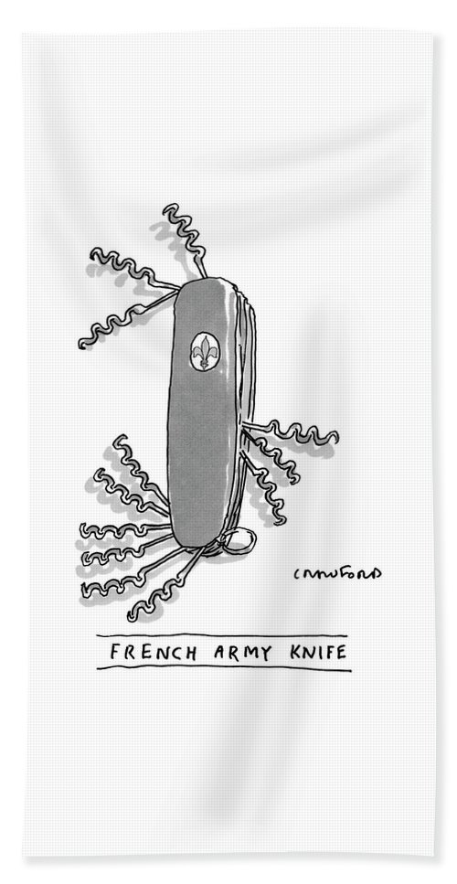 Swiss Army Knife Beach Sheet featuring the drawing French Army Knife by Michael Crawford