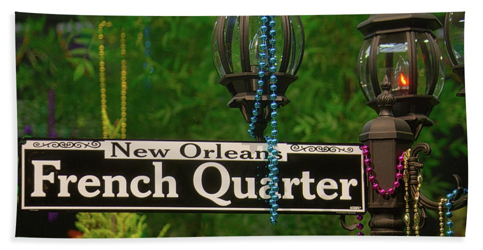French Beach Towel featuring the photograph French Quarter Sign by Garry Gay