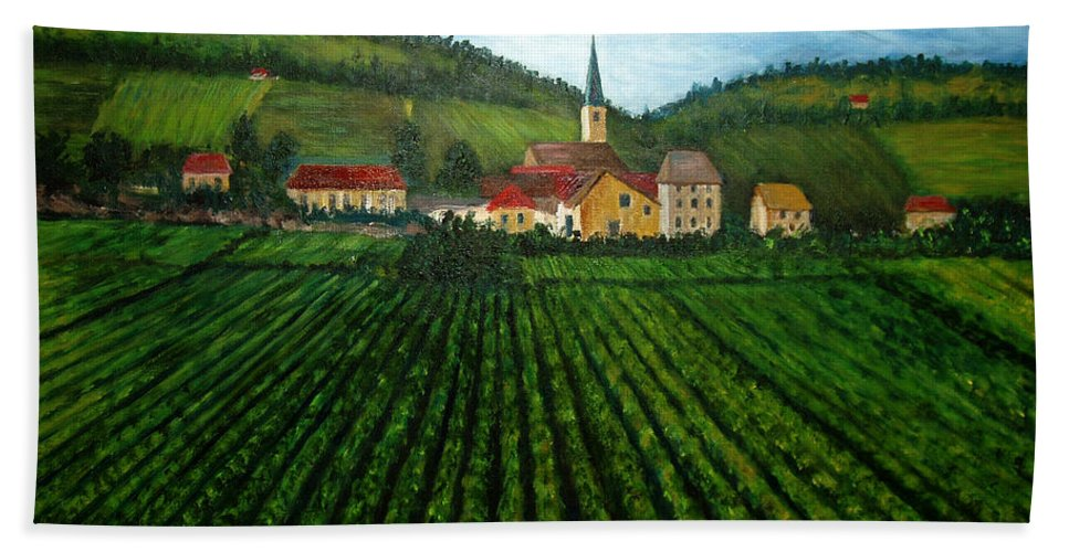 Acrylic Beach Towel featuring the painting French Village in the Vineyards by Nancy Mueller