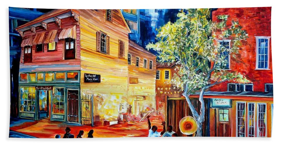 New Orleans Beach Towel featuring the painting Frenchmen Street Funk by Diane Millsap