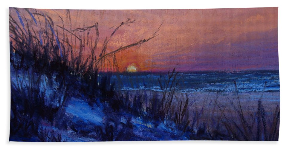 Landscape Beach Sheet featuring the pastel Frenchy's Sunset by Susan Jenkins