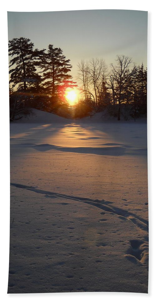 Mississippi River Beach Towel featuring the photograph Fresh Deer Tracks At Sunrise by Kent Lorentzen