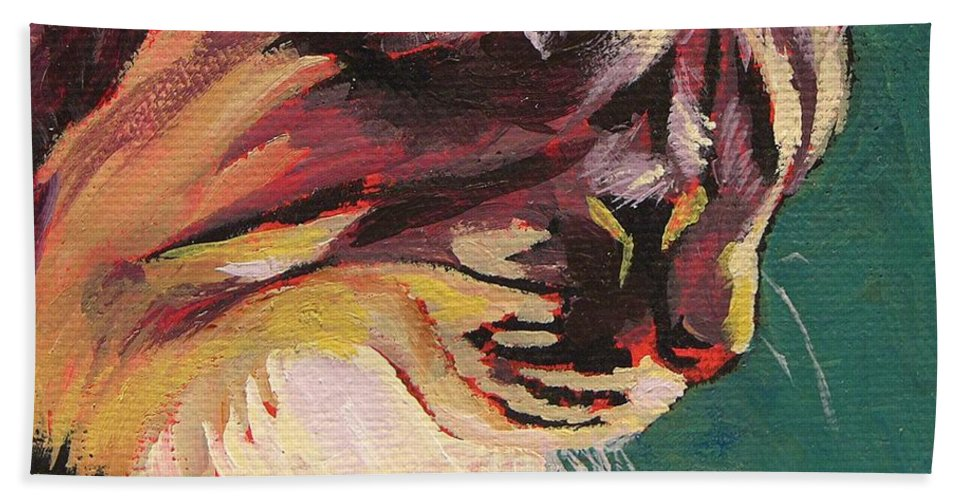 Cat Beach Towel featuring the painting Friday Sunning Herself by Mary McInnis