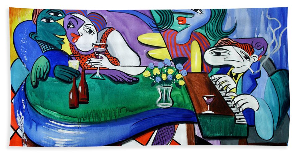 Friday At Beanies Beach Towel featuring the painting Fridays At Bernies by Anthony Falbo